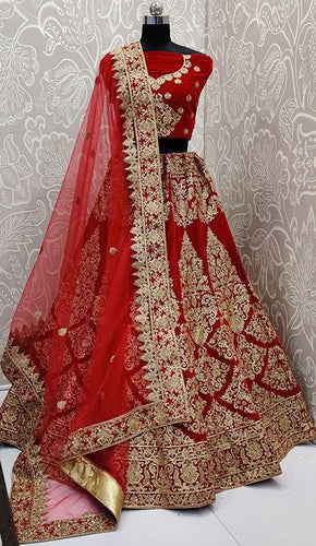 Turkish Red Bridal Velvet Lehenga Choli SFYDS0138 - Siya Fashions