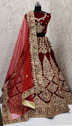 Turkish Wine Bridal Velvet Lehenga Choli SFYDS0139 - Siya Fashions