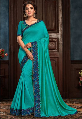Turquoise Art Silk Saree Raw Silk Blouse YD2152EX - Siya Fashions