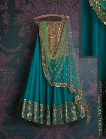 Turquoise Blue Bridal Reception Lehenga Set In Silk Heavy Handwork INS1533 - Siya Fashions