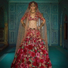 Load image into Gallery viewer, Victory Glamours Red Bridal Floral Lehenga Choli In Silk SFIN2014 - Siya Fashions