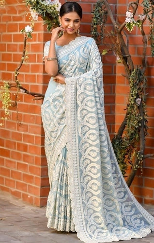 Vigour Blue Wedding Saree In Net Gota Work SBRI1211 - Siya Fashions