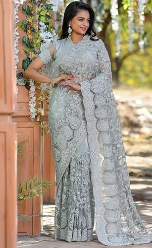 Vigour Grey Wedding Saree In Net Gota Work SBRI1213