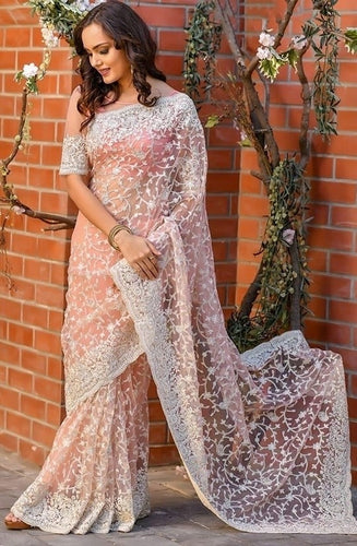 Vigour Peach Wedding Saree In Net Gota Work SBRI1216