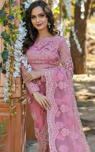 Vigour Pink Wedding Saree In Net Gota Work SBRI1212 - Siya Fashions