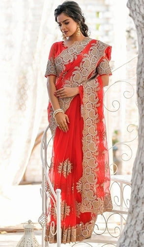 Vigour Red Wedding Saree In Net Gota Work SBRI1215 - Siya Fashions