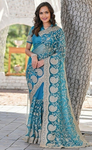Vigour Turquoise Wedding Saree In Net Gota Work SBRI1214