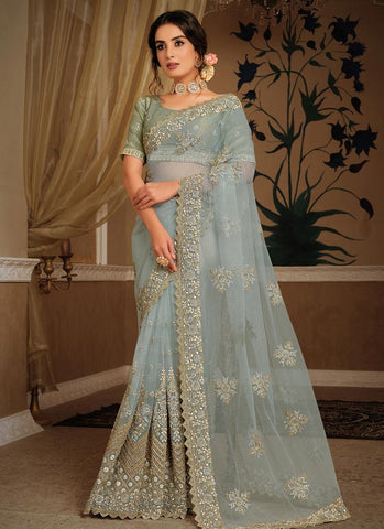 Voguish Blue Wedding Party Saree In Net SFZ42 - Siya Fashions