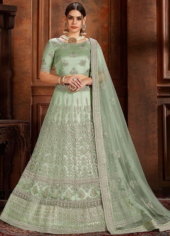 Voguish Green Net Embroidery Pearl Zarkan Work SF1027EXP - Siya Fashions