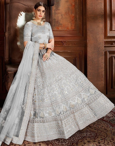 Voguish Grey Net Embroidery Pearl Zarkan Work SF1025EXPS