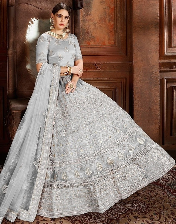 Voguish Grey Net Embroidery Pearl Zarkan Work SF1025EXPS - Siya Fashions