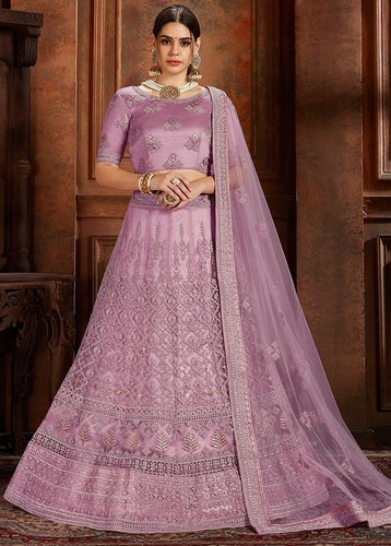 Voguish Purple Pink Net Embroidery Pearl Zarkan Work SF1026EXP