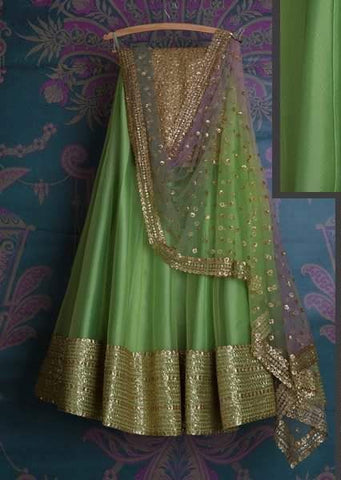 Green Bridal Reception Lehenga Set In Silk Heavy Handwork INS144 - Siya Fashions