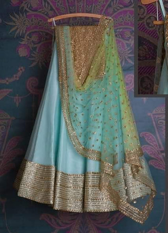 Aqua Blue Bridal Reception Lehenga Set In Net Heavy Handwork INS141 - Siya Fashions