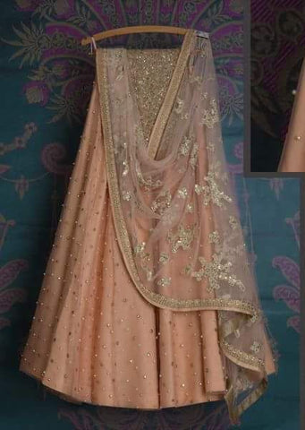 Peach Bridal Reception Lehenga Set In Silk Heavy Handwork INS143 - Siya Fashions