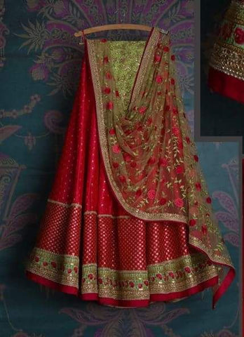 Red Bridal Reception Lehenga Set In Net Heavy Handwork INS142 - Siya Fashions