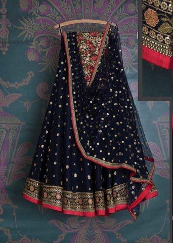 Navy Bridal Reception Lehenga Set In Net Heavy Handwork INS140 - Siya Fashions