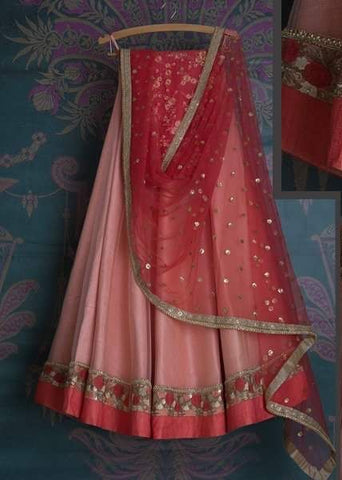 Pink Bridal Reception Lehenga Set In Silk Heavy Handwork INS906