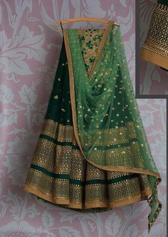 Green Bridal Reception Lehenga Set In Silk Heavy Handwork INS905