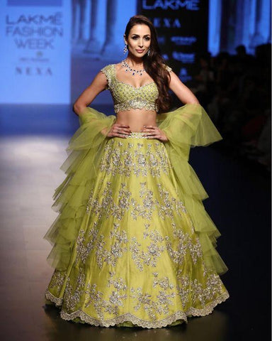 Wedding Cocktail Lehenga In Lime SFINS734 - Siya Fashions