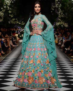 Wedding Cocktail Lehenga In Turquoise SFINS401 - Siya Fashions