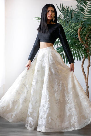 Black And White Wedding Party Lehenga In Silk SFIN802 - Siya Fashions
