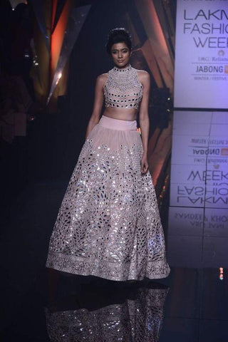 Wedding Reception Peach Lehenga With Leather Applique Work SF82IN - Siya Fashions
