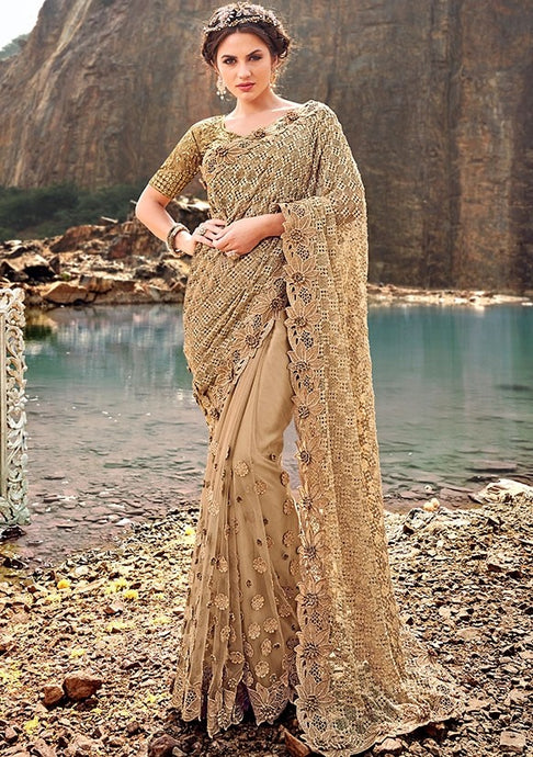 Wedding Saree Beige Net Pearl Work SFYDS3240 - Siya Fashions