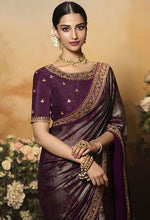 Load image into Gallery viewer, Wedding Saree Culture Foil Print Wine Saree SIYA3237 - Siya Fashions