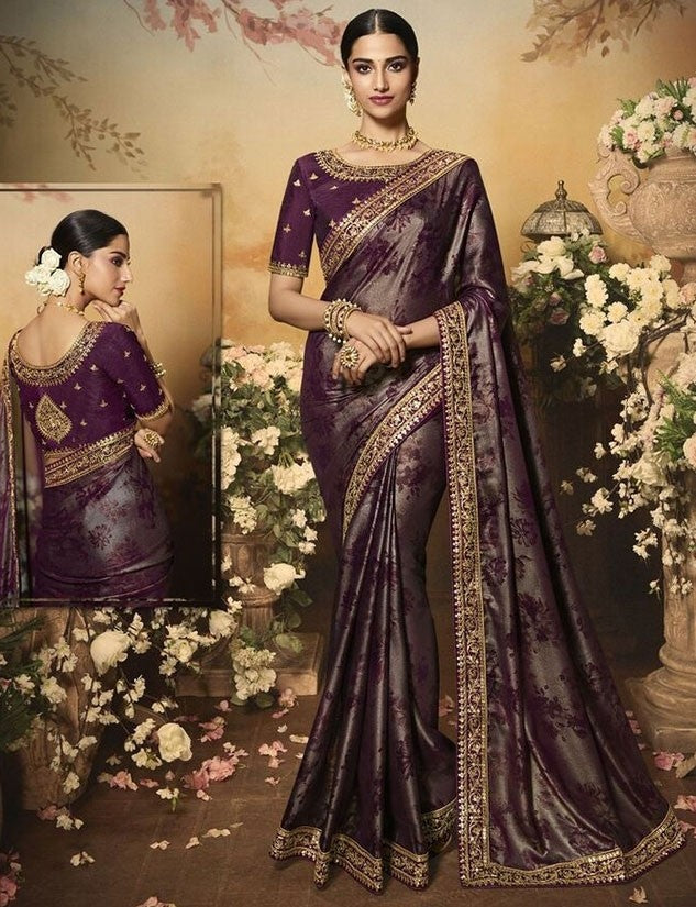 Wedding Saree Culture Foil Print Wine Saree SIYA3237 - Siya Fashions