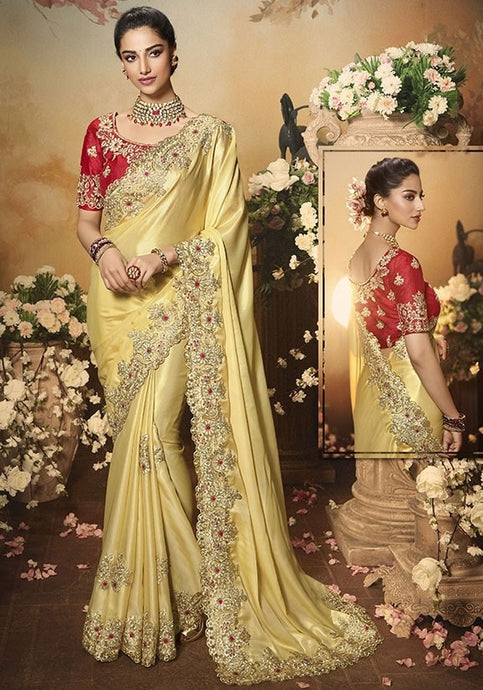 Wedding Saree Culture Gold Blond Satin  SIYA3241 - Siya Fashions