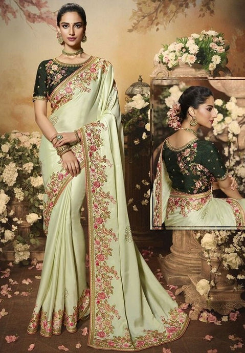 Wedding Saree Culture Green Mint Satin  SIYA3242 - Siya Fashions