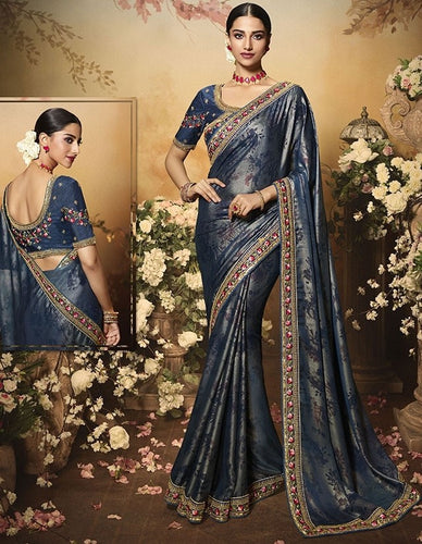 Wedding Saree Culture Grey Satin Silk Saree SIYA3239 - Siya Fashions
