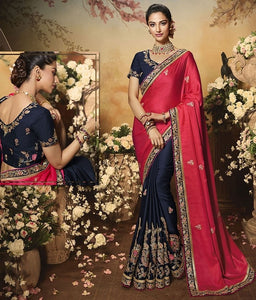 Wedding Saree Culture Navy Blue Satin Silk Saree SIYA3238 - Siya Fashions