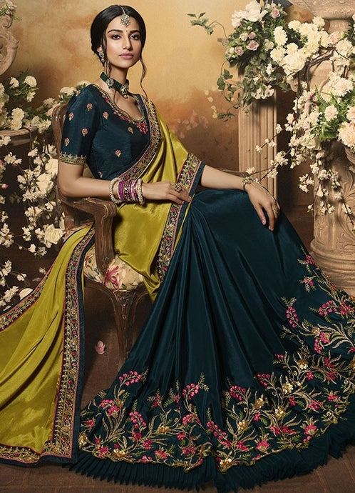 Wedding Saree Culture Olive Green Satin Saree SIYA3240 - Siya Fashions