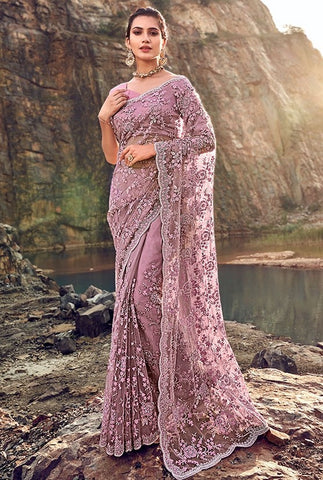 Wedding Saree Digital Zarkan Work Purple SFYD33193 - Siya Fashions