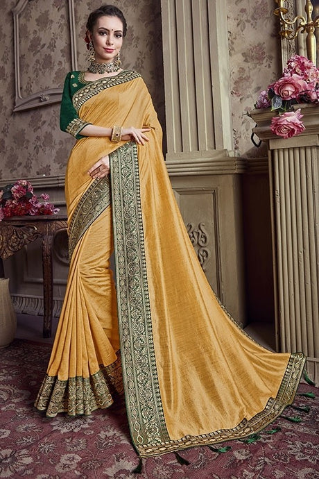 Wedding Saree Gold Art Silk Weaving SIYA489YD - Siya Fashions