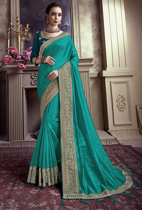 Wedding Saree Green Art Silk Weaving SIYA488YD - Siya Fashions