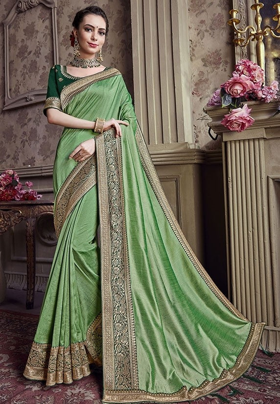 Wedding Saree Green Art Silk Weaving SIYA491YD - Siya Fashions