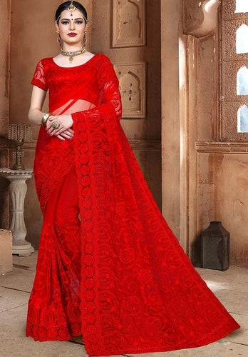 Wedding Saree Hot Red In Net SF99114YD - Siya Fashions