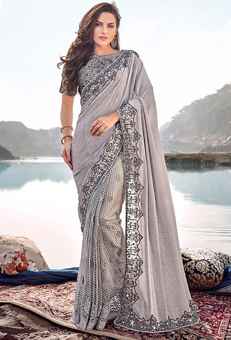 Wedding Saree Korean Mirror Cut Dana Work SFYDS3239 - Siya Fashions