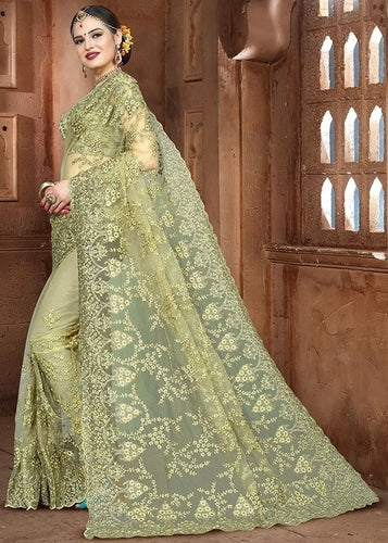 Wedding Saree Moss Green In Net SF99180YD - Siya Fashions