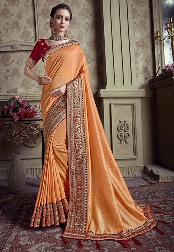 Wedding Saree Orange Art Silk Weaving SIYA492YD - Siya Fashions