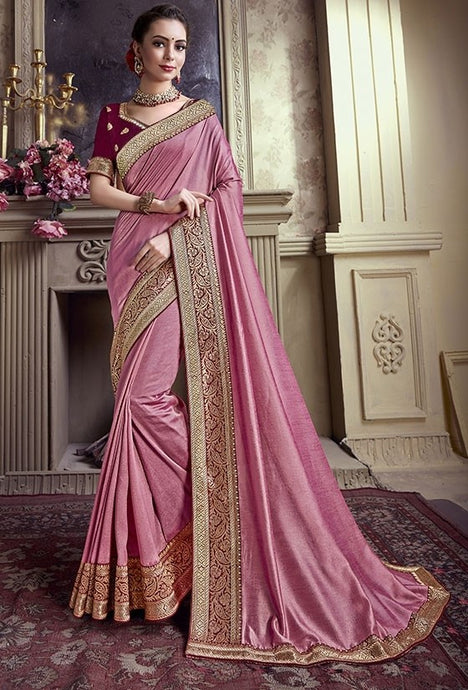 Wedding Saree Pink Art Silk Weaving SIYA490YD - Siya Fashions