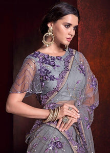 Wedding Saree Purple Net Zardozi Motif SFYDS3242 - Siya Fashions