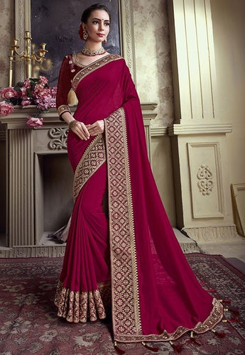 Wedding Saree Red Silk Weaving SIYA482YD - Siya Fashions