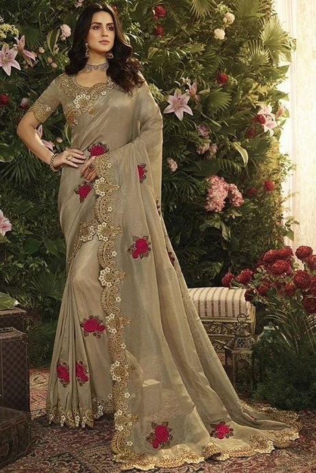 Wedding Saree Satin Art Silk Blouse Floral Grey SIYA997 - Siya Fashions