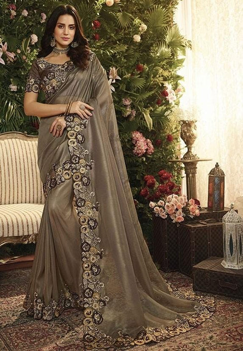 Wedding Saree Satin Art Silk Blouse In Dark Grey SIYA994 - Siya Fashions