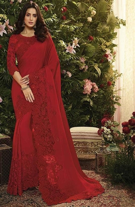 Wedding Saree Satin Art Silk Blouse In Red SIYA992 - Siya Fashions