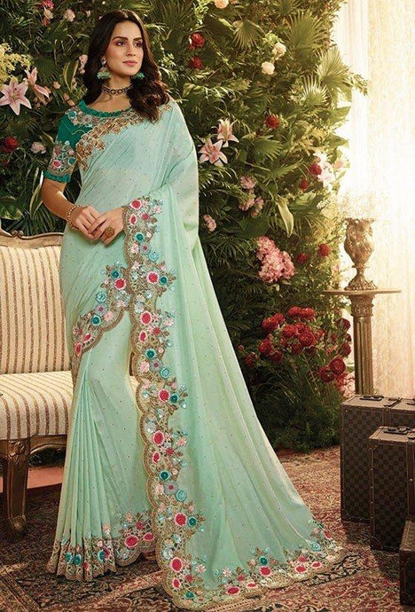 Wedding Saree Satin Art Silk Blouse In Turquoise SIYA993 - Siya Fashions